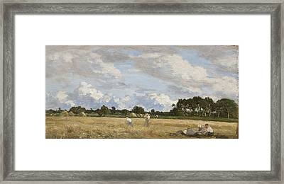 Haymaking Framed Print by Eugene Louis Boudin