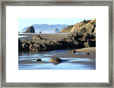 Haystack Rock From Arcadia Beach Framed Print by Steven A Bash