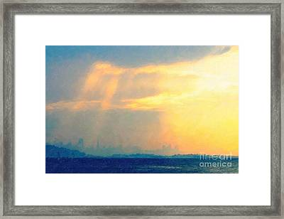 Hazy Light Over San Francisco Framed Print by Wingsdomain Art and Photography