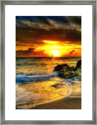 Hdr Blazing Sunrise Framed Print by Joe Myeress