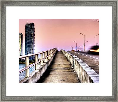 Hdr Sunrise Bridge Framed Print by Joe Myeress
