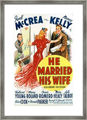 He Married His Wife, Roland Young Framed Print by Everett