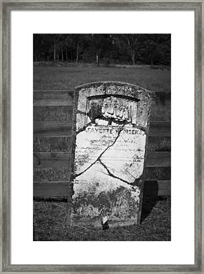 Headstone Of Lafayette Meeks Framed Print by Teresa Mucha
