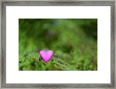 Heart In Moss Framed Print by Alexandre Fundone