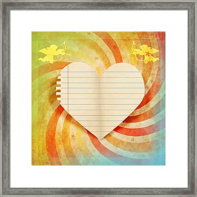 Heart Paper Retro Design Framed Print by Setsiri Silapasuwanchai