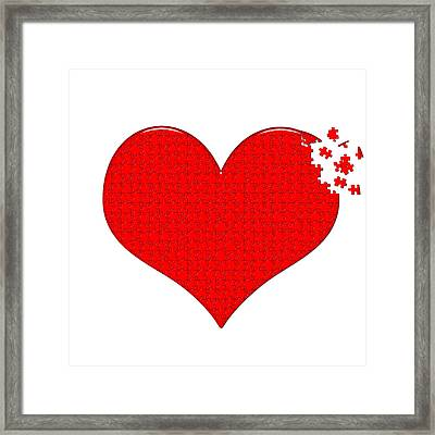 Heart Puzzle Framed Print by Hans Engbers