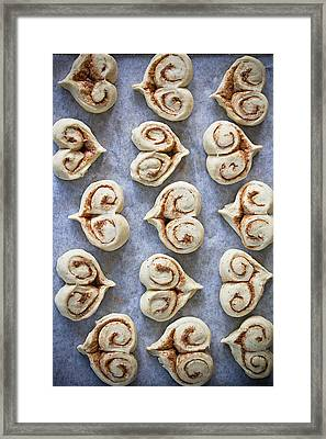 Heart Shaped Cinnamon Buns Framed Print by Helena Schaeder Söderberg