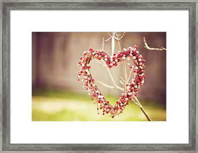 Heart Wreath Hanging On Tree Framed Print by Julia Goss