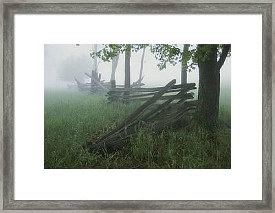 Heavy Fog Hangs Over Split Rail Fences Framed Print by Stephen St. John