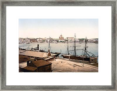 Helsinki Finland - Russian Cathedral And Harbor Framed Print by International Images