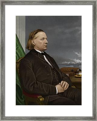 Henry Ward Beecher, Us Social Reformer Framed Print by Maria Platt-evans