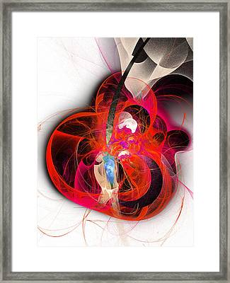 Her Heart Is A Guitar Framed Print by Andee Design