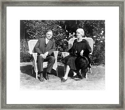 Herbert Hoover Seated With His Wife Framed Print by International  Images