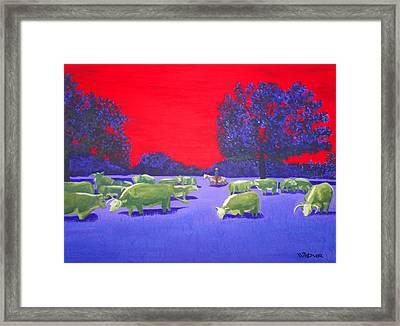 Hereford Herd Framed Print by Randall Weidner