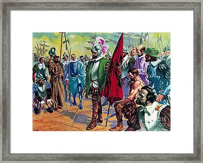 Hernando Cortes Arriving In Mexico In 1519 Framed Print by English School