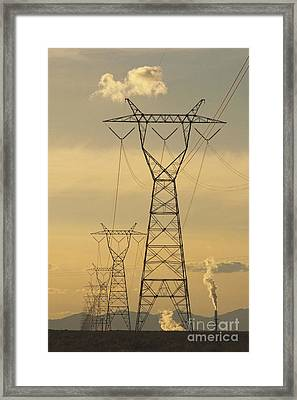 High Voltage Towers And Power Lines Framed Print by Thom Gourley/Flatbread Images, LLC
