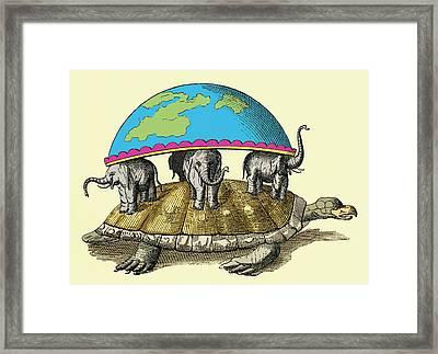Hindu Cosmological Myth Framed Print by Sheila Terry