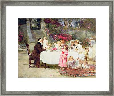 His First Birthday Framed Print by Frederick Morgan