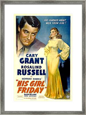 His Girl Friday, Cary Grant, Rosalind Framed Print by Everett