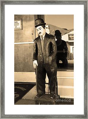 Historic Niles District In California Near Fremont . Charlie Chaplin Statue At The Florence Bar . Se Framed Print by Wingsdomain Art and Photography