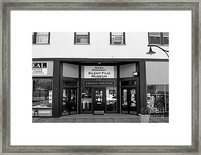 Historic Niles District In California Near Fremont . Niles Essanay Silent Film Museum . 7d10683 Bw Framed Print by Wingsdomain Art and Photography