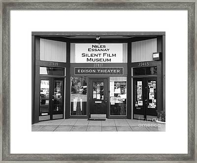 Historic Niles District In California Near Fremont . Niles Essanay Silent Film Museum . 7d10684 Bw Framed Print by Wingsdomain Art and Photography
