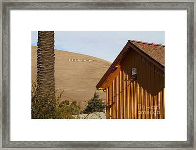 Historic Niles District In California Near Fremont . Niles Letters On Hill From Niles Town Plaza Framed Print by Wingsdomain Art and Photography
