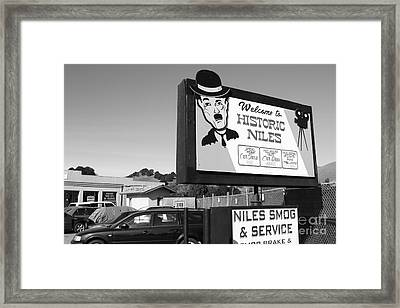Historic Niles District In California Near Fremont . Welcome To Niles Sign . 7d10603 . Bw Framed Print by Wingsdomain Art and Photography