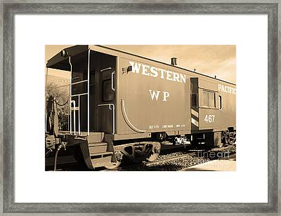 Historic Niles District In California Near Fremont . Western Pacific Caboose Train . 7d10627 . Sepia Framed Print by Wingsdomain Art and Photography