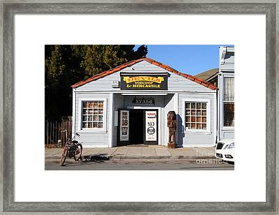 Historic Niles District In California.motorized Bike Outside Devils Workshop And Mercantile.7d12727 Framed Print by Wingsdomain Art and Photography