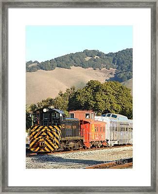 Historic Niles Trains In California . Old Southern Pacific Locomotive And Sante Fe Caboose . 7d10819 Framed Print by Wingsdomain Art and Photography