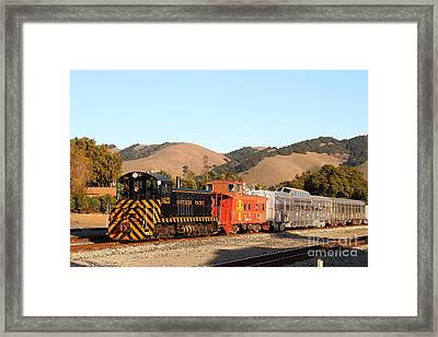 Historic Niles Trains In California . Old Southern Pacific Locomotive And Sante Fe Caboose . 7d10822 Framed Print by Wingsdomain Art and Photography