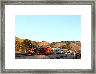 Historic Niles Trains In California . Old Southern Pacific Locomotive And Sante Fe Caboose . 7d10869 Framed Print by Wingsdomain Art and Photography