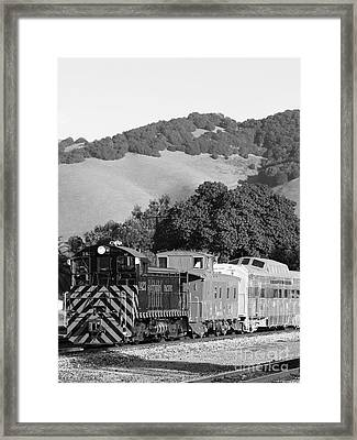 Historic Niles Trains In California . Southern Pacific Locomotive And Sante Fe Caboose.7d10819.bw Framed Print by Wingsdomain Art and Photography