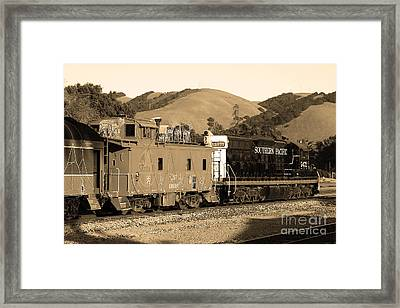Historic Niles Trains In California.southern Pacific Locomotive And Sante Fe Caboose.7d10843.sepia Framed Print by Wingsdomain Art and Photography