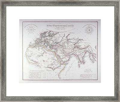 Historical Map Of The Known World Framed Print by Fototeca Storica Nazionale