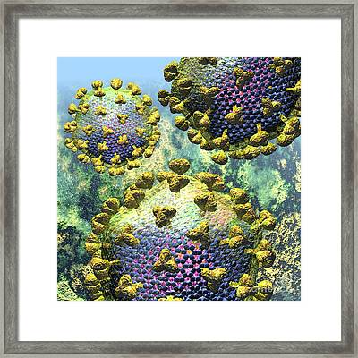 Hiv Three Virions On Blue Framed Print by Russell Kightley