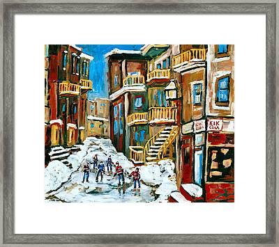 Hockey Art In Montreal Framed Print by Carole Spandau