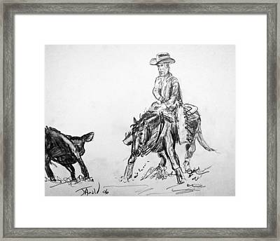 Holding The Cow Framed Print by Jim  Arnold