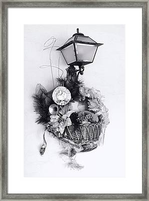 Holiday Basket On Lamp Bw Framed Print by Linda Phelps