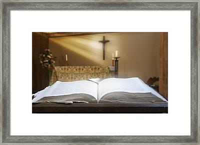 Holy Bible In A Church Framed Print by John Short