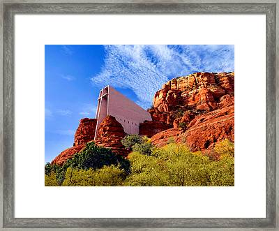 Holy Cross Or Red Rock Chapel Framed Print by Bob and Nadine Johnston