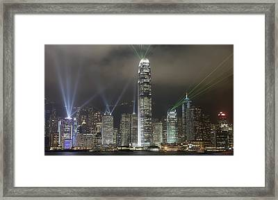 Hong Kong Light Show, At Night, Over Framed Print by Axiom Photographic