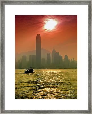 Hong Kong Sunset Framed Print by Bibhash Chaudhuri
