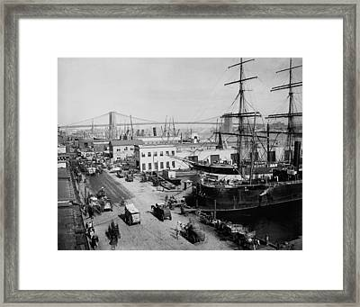 Horse-drawn Express Wagons Moored Ships Framed Print by Everett