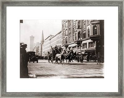 Horse-drawn Fire Engines In Street Framed Print by Everett
