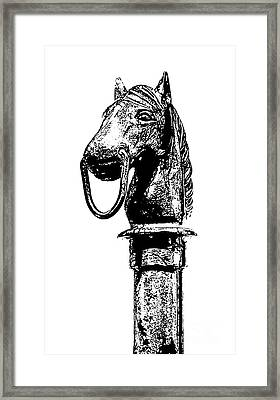 Horse Head Hitching Post Macro French Quarter New Orleans Black And White Stamp Digital Art Framed Print by Shawn O'Brien