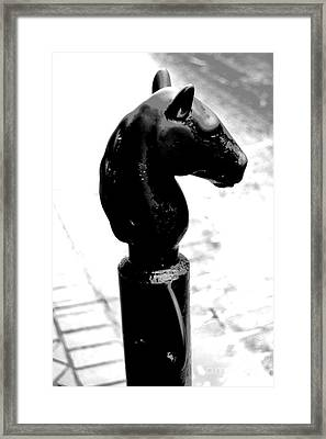 Horse Head Pole Hitching Post French Quarter New Orleans Black And White Conte Crayon Digital Art Framed Print by Shawn O'Brien