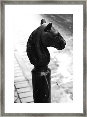 Horse Head Pole Hitching Post French Quarter New Orleans Black And White Diffuse Glow Digital Art Framed Print by Shawn O'Brien