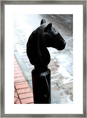 Horse Head Pole Hitching Post French Quarter New Orleans Fresco Digital Art Framed Print by Shawn O'Brien